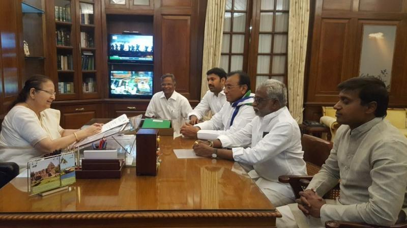 The five MPs are Vara Prasad Rao V, YV Subba Reddy, PV Midhun Reddy, YS Avinash Reddy and the party floor leader Mekapati Rajamohan Reddy. (Photo: ANI/Twitter)