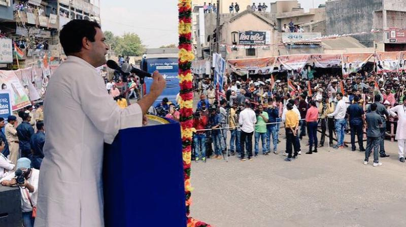 At Falla village in Jamnagar, people greeted him with the slogan 'Jai Sardar, Jai Patidar'. Many in the crowd wore caps with the slogan. (Photo: OfficeofRG | Twitter)