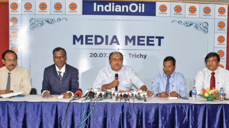 R. Chidambaram - general manager, Corporate Communications, Southern Region, IOC addressing the media at Tiruchy on Saturday. (Photo: DC)