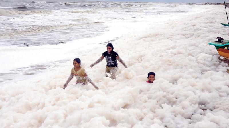 Knee-deep in foams, kids seem to be  having a whale of a time at Pattinapakkam beach. (E. K. SANJAY)