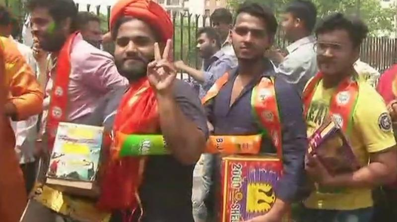 BJP has proved an overwhelming number of opinion and exit polls wrong in the Karnataka Assembly election result. (Photo: ANI/Twitter)