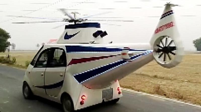 Bihar: 24-year-old turns Tata Nano into a helicopter