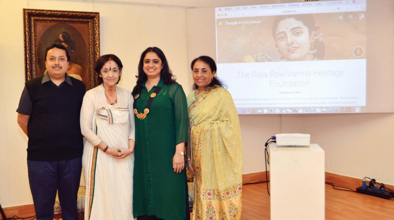 Ganesh Shivaswamy, Rukmini Varma, Gitanjali Maini and Usha Balakrishnan at the launch of the Raja Ravi Varma Heritage Foundation's collaboration with Google Art and Culture