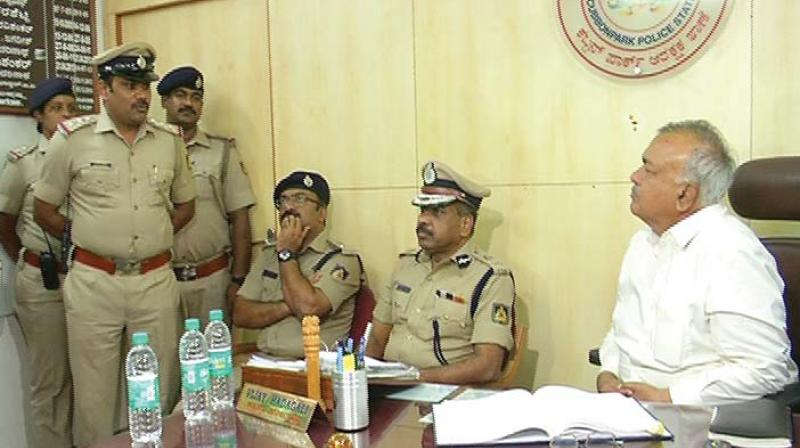 Home Minister Ramalinga Reddy made surprise visits at four police stations across Bengaluru on Friday.