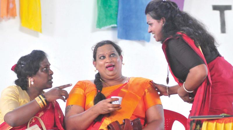 Transgender activists Akkai Padmashali, Sreekutty and Shyama S. Prabha at 'Beyond the Binary', event in Thiruvananthapuram on Monday. (Photo: A.V.MUZAFAR )