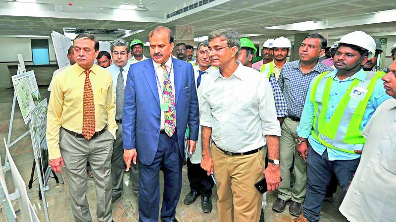 AIIMS, Mangalagiri president Ravi Kumar, director Mukesh Tripathi superintendent Rakesh Kakkar and others inspect the site before its during the inaugural ceremony of outpatient department on Tuesday. (Photo: E. Tejo Roy )