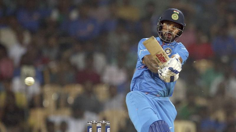 Shikhar Dhawan got to his eighth T20I fifty, taking just 36 balls to do so. (Photo: AP)