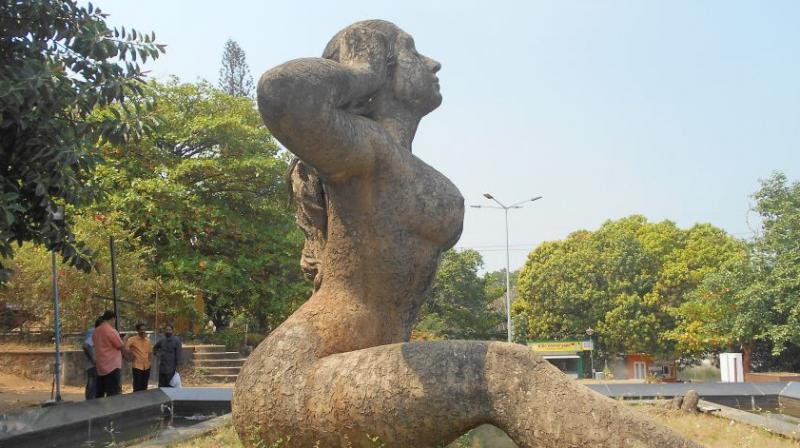 Facing the mountain ranges of the Western Ghats, the statue of 'Yakshi' is designed as a voluptuous naked woman (Photo:AFP)