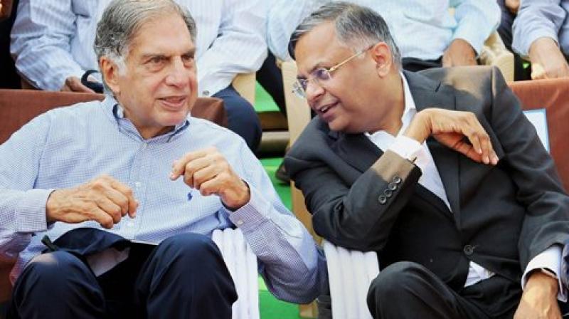 Ratan Tata and with Tata Sons chairman Natarajan Chandrasekaran. (Photo: PTI)