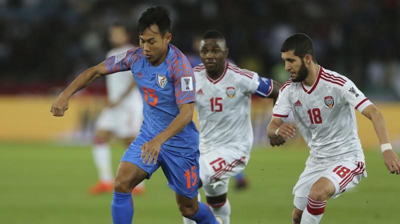 Khalfan Mubarak and Ali Mabkhout were on target for United Arab Emirates as the Asian Cup hosts beat India 2-0 on Thursday to close on a spot in the last 16. (Photo: AP)