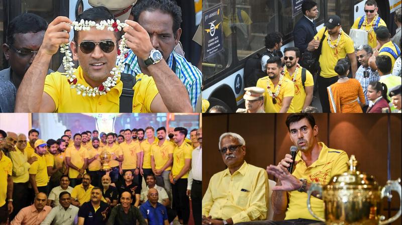 CSK teammates received grand welcome in Chennai after winning in IPL 2018