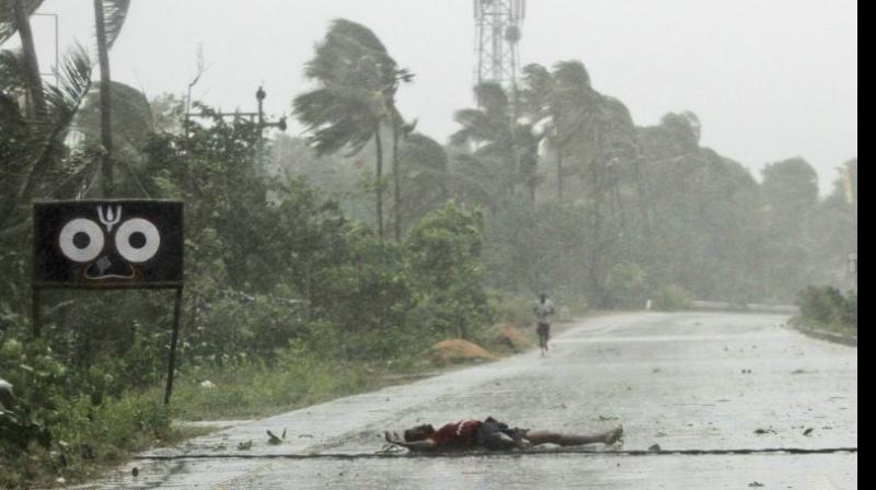 The eye of cyclonic storm 'Fani' has 'completely moved into land' by 10 am Friday weakening its fury, but heavy rainfall is still predicted in Odisha, Andhra Pradesh, West Bengal and parts of the northeastern states, the Home Ministry said on Friday. (Photo: AP)