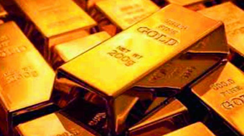 Globally, gold fell 0.13 per cent to USD 1,213 an ounce and silver by 0.18 per cent to USD 14.10 an ounce in Singapore.