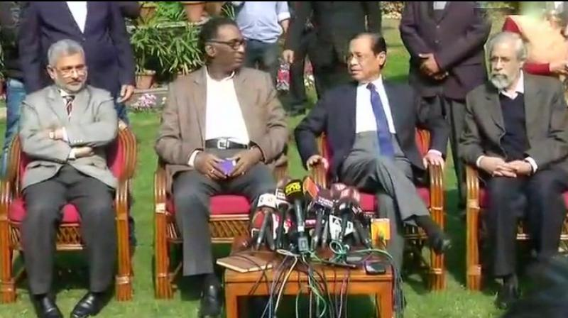 The four – Justices J Chelameswar, Ranjan Gogoi, Madan Lokur and Kurien Joseph – addressed the media at Justice Chelameswar's home. (Photo: ANI)