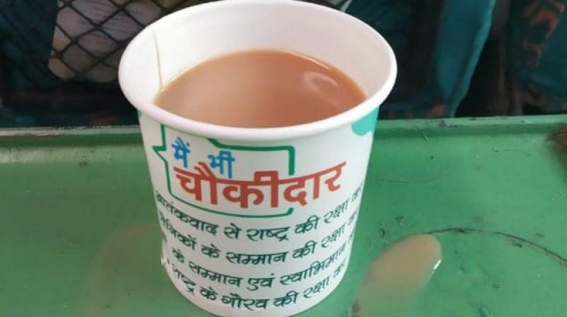 As the image of the paper cup tweeted by a passenger on Kathgodam Shatabdi went viral, the railways said its has withdrawn the cup and penalised the contractor.  (Image: tweeted by Rizvi Uzair)