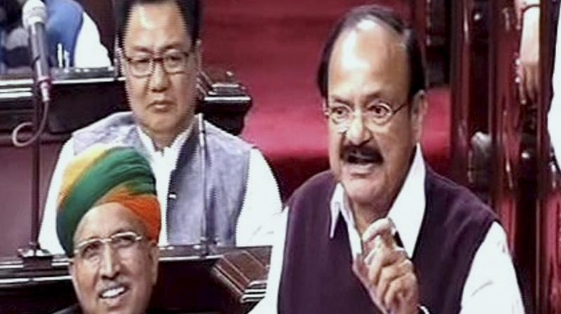 Union I & B Minister M Venkaiah Naidu speaks in the Rajya Sabha on the opening of the winter session of Parliament in New Delhi. (Photo: PTI)