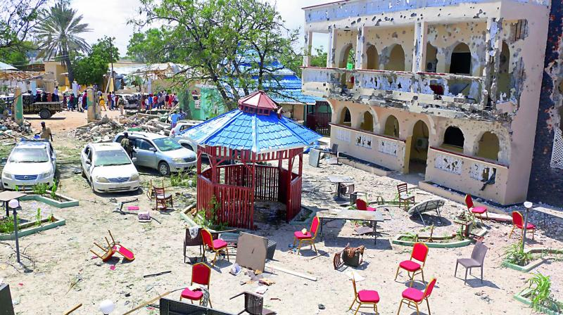 A view of the Asasey Hotel that was attacked in Kismayo, Somalia on Saturday. (photo: AP)