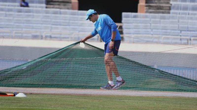 Indian team coach Anil Kumble during a practice session before India's third test match against Australia in Ranchi. (Photo: PTI)