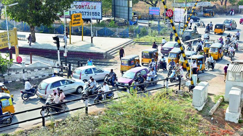 Ever since the Safilguda level crossing was closed three months back, commuting through the area has become a nightmare for motorists. They are forced to drive through narrow bylanes which are often choked all through the day.