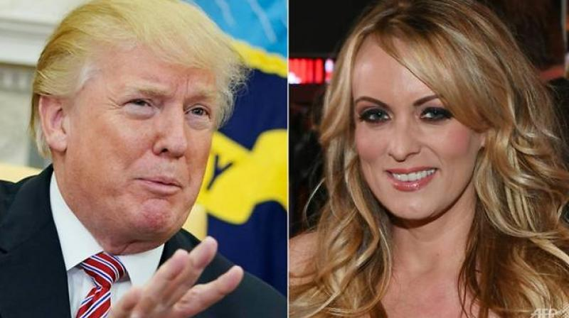 Daniels, whose real name is Stephanie Clifford, claims she had a tryst with Trump in 2006 while he was married. The president denies the affair, and initially denied all knowledge of the payment. (Photo: AFP)