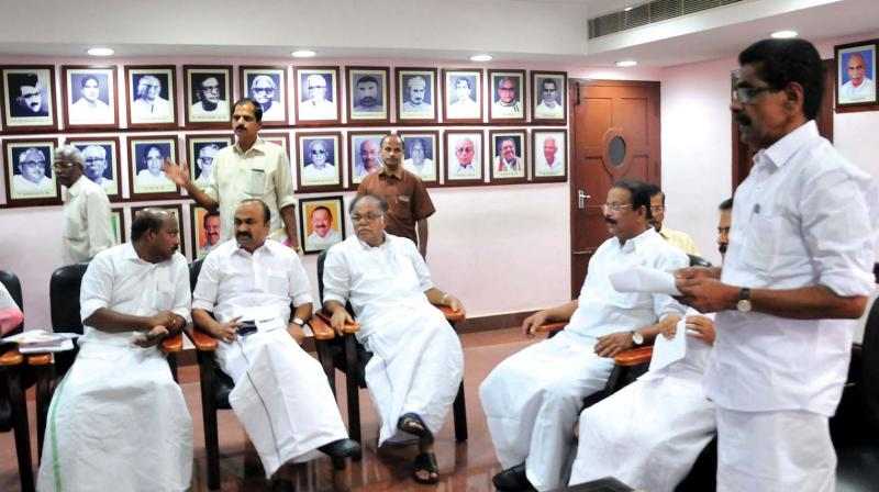 KPCC president Mullappally Ramachandran addresses the political affairs committee meeting at Indira Bhavan in Thiruvananthapuram on Sunday. (Photo: DC)