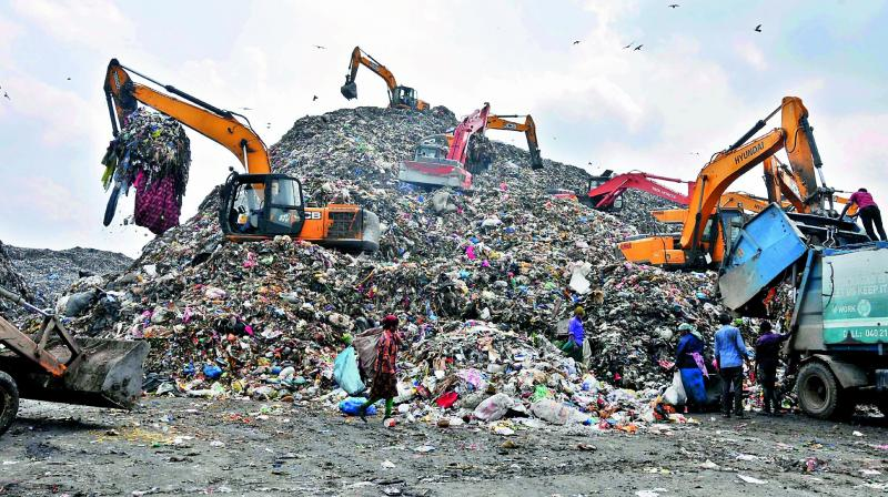Mountain of garbage at the Jawahar Nagar dump yard, releases leachate and spreads stench across the vicinity. (Photo: P. Surendra)