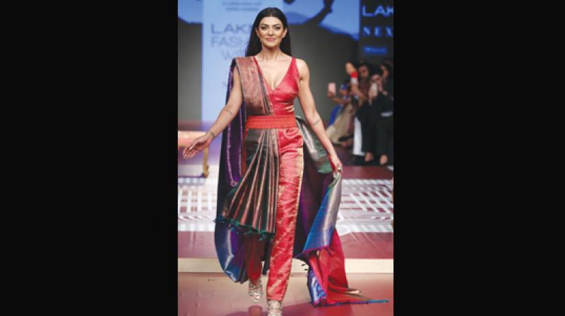 Sushmita Sen walks the ramp for label RmKV on Sustainability Day at LFW 2018.