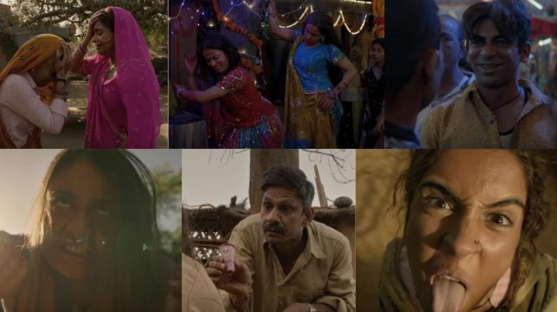 Screengrabs from the trailer of 'Pataakha.'