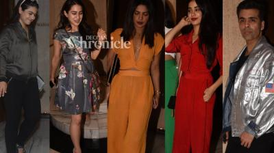 Manish Malhotra brought out numerous stars from Bollywood at his residence in Mumbai for a gathering on Tuesday. (Photos: Viral Bhayani)