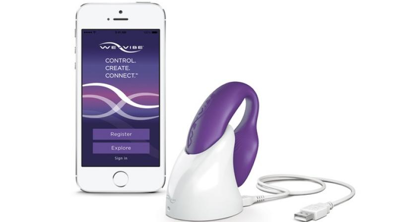 """The We-Vibe, which can be controlled by a smartphone app, is marketed as """"the only vibrator which can be worn while making love"""" and """"stimulates the G-spot, the clitoris and the penis simultaneously."""""""