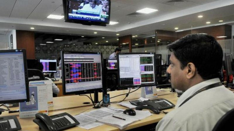 A broker during a session at NSE.