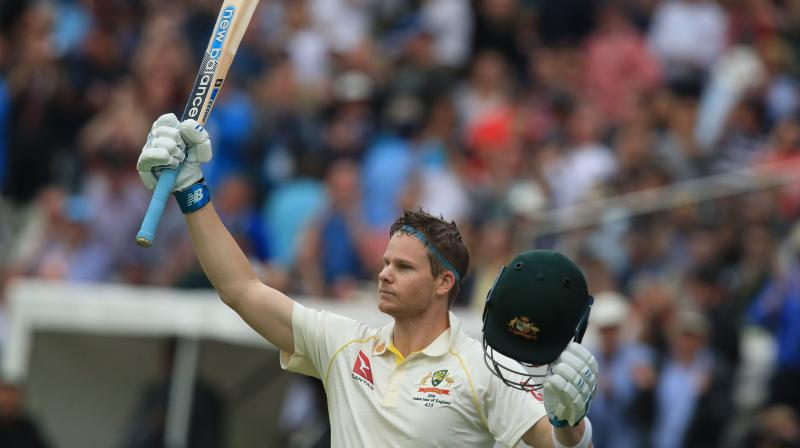 Jeered by a hostile Edgbaston crowd throughout the opening day of the first test, Steve Smith's brilliant 144 dragged his side from a position of peril to the safety of 284 all out, with England 10 for no loss in reply by stumps on Thursday. (Photo:AFP)