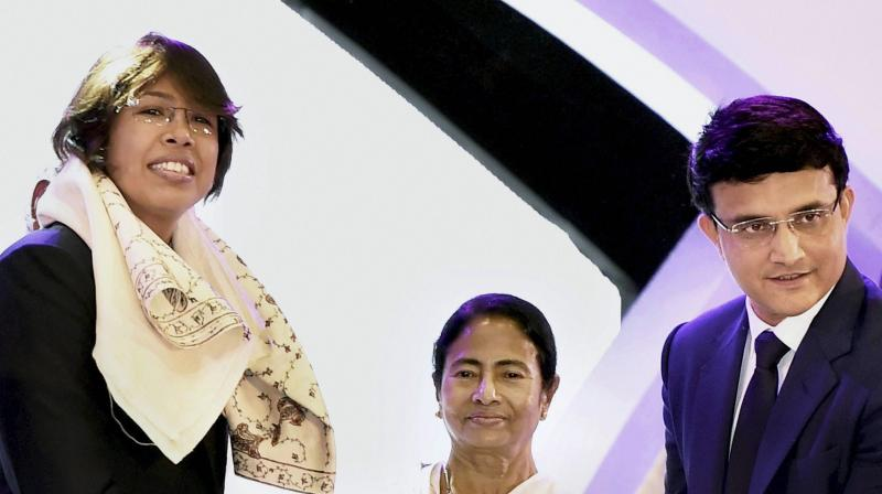 Jhulan Goswami was felicitated by West Bengal Chief Minister Mamata Bannerjee. Former cricketer and current president of Cricket Association of Bengal Sourav Ganguly was also present. (Photo: PTI)