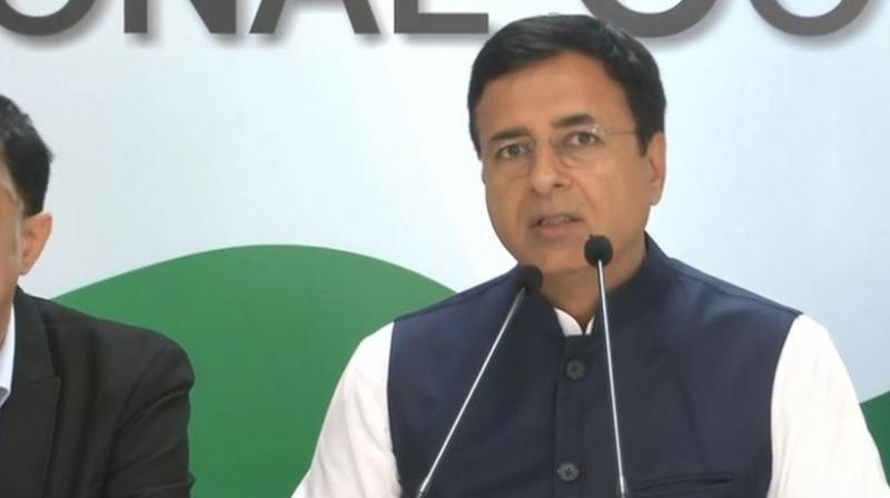 'Indian National Congress strongly questions the 'Culture of Defection' systematically being cultivated by the BJP', Surjewala tweeted. (Photo: ANI)
