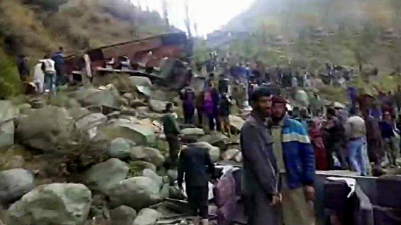 11 people were killed and several others injured after a bus they were travelling in skidded off the road and fell into a deep gorge in Jammu and Kashmir's Poonch district. (Photo: ANI)