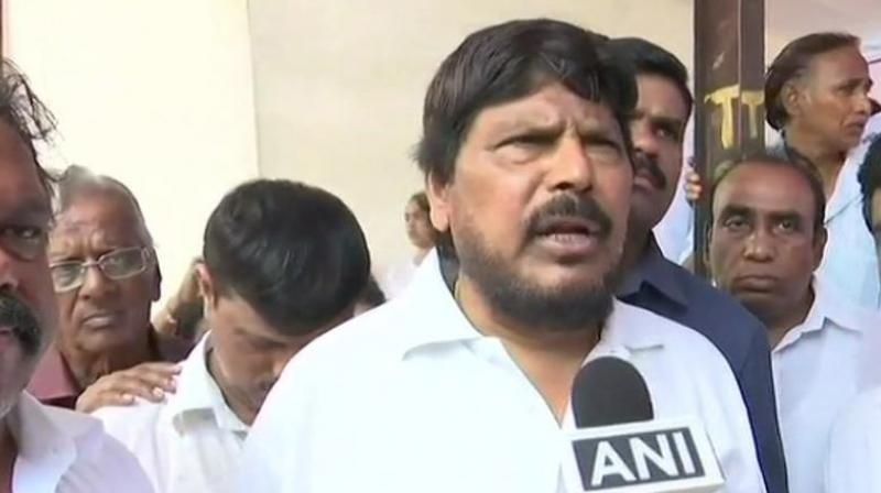 Athawale said, 'The price of fuel can be reduced if the states cut the tax on it. The Centre is seriously working on the issue.' (Photo: ANI | Twitter)