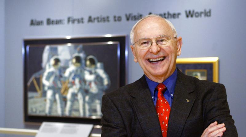 Alan Bean the fourth man to walk on the moon is shown during a preview of his work at the Lyndon Baines Johnson Library and Museum in Austin Texas