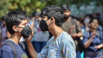 Anti-virus masks made an appearance at the anti-CAA demonstration organised at Jantar Mantar in New Delhi on Tuesday (PTI)