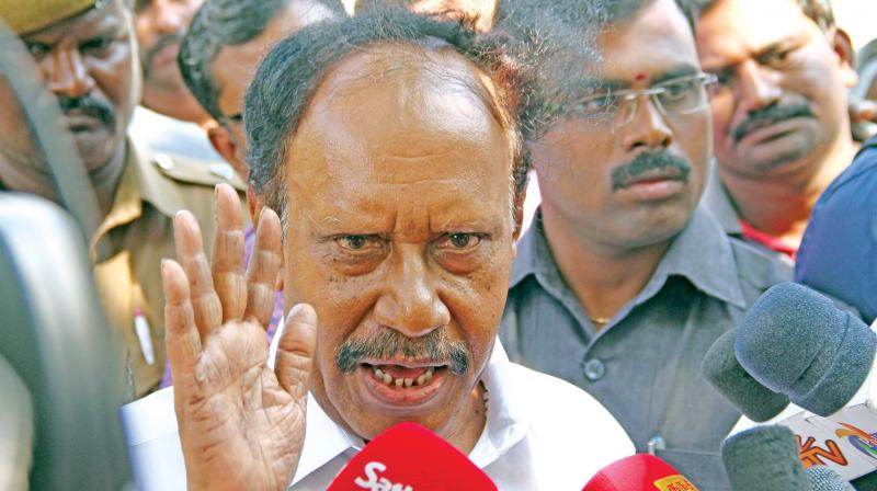 AIADMK leader and Lok Sabha Deputy Speaker M. Thambidurai addresses media at Poes garden after calling on party general secretary V.K. Sasikala on Monday.(Photo: DC)