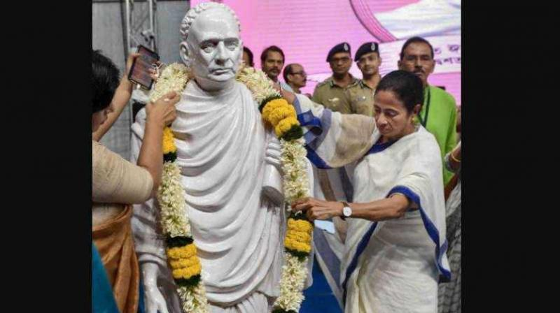 The chief minister was addressing a gathering after launching a year-long celebration to mark the 200th birth anniversary of Vidyasagar from his birthplace at Birsingha. (Photo: PTI)