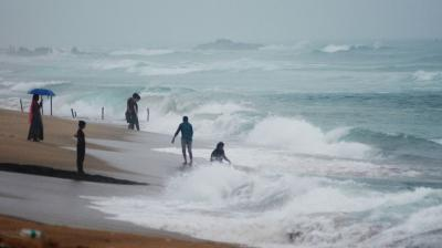 Huge waves hit the shore due to a deep depression turned into a Cyclonic Storm, Gulab, at Ramakrishna Beach in Visakhapatnam on Sunday. (DC photo)
