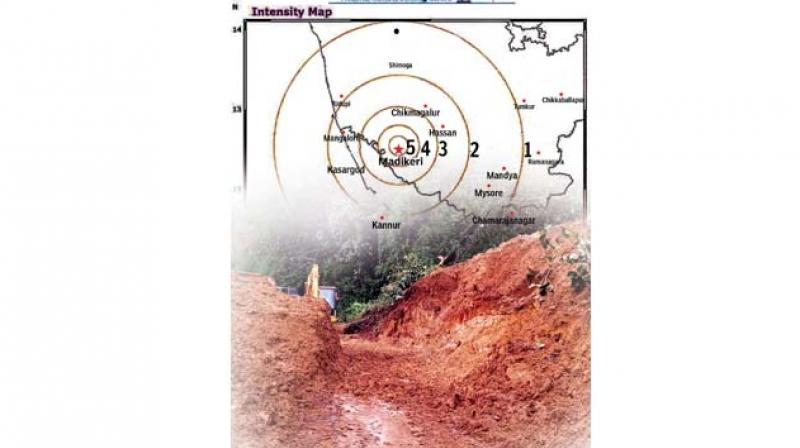 The National Remote Sensing Centre data that shows the towns in Kerala and Kodagu including Madikeri that were jolted by the July 9 earthquake.