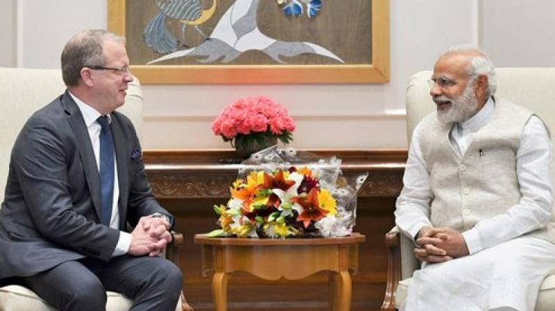 Prime Minister Narendra Modi with Group President and CEO AB Volvo, Martin Lundstedt in a meeting in New Delhi on Monday. (Photo: PTI)