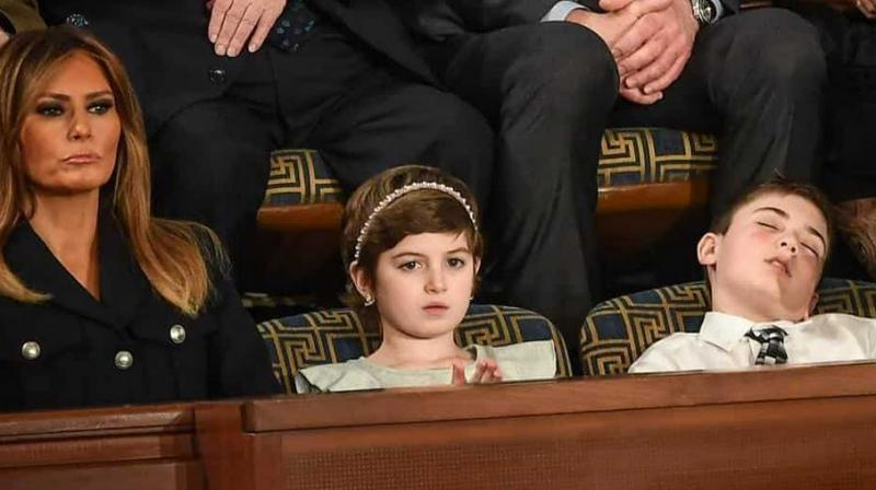 Seated two seats up from First Lady Melania Trump, middle school student from Delaware Joshua Trump, not related to the US President, nodded of midway through the State of the Union address. (Photo: AFP)