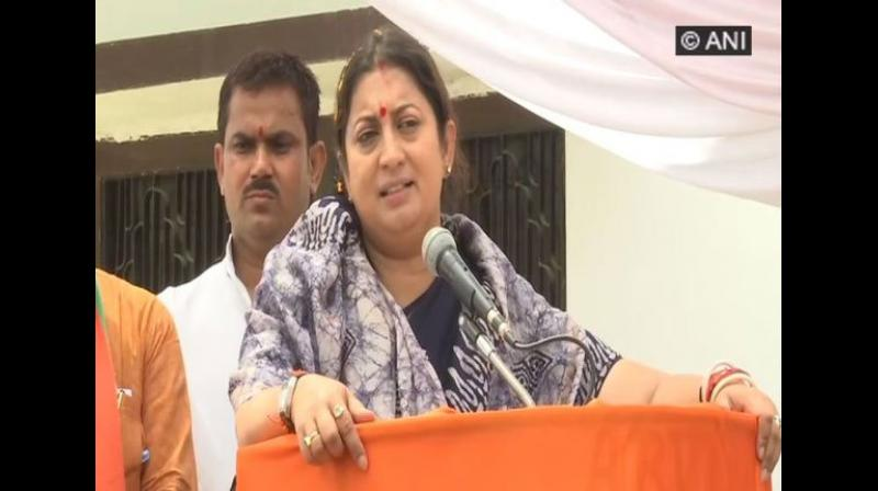 Congress not fielding candidates in all the 80 Lok Sabha seats in Uttar Pradesh (UP) is a sign of accepting defeat even before the start of the elections, said Union Textiles Minister Smriti Irani. (Photo: ANI)