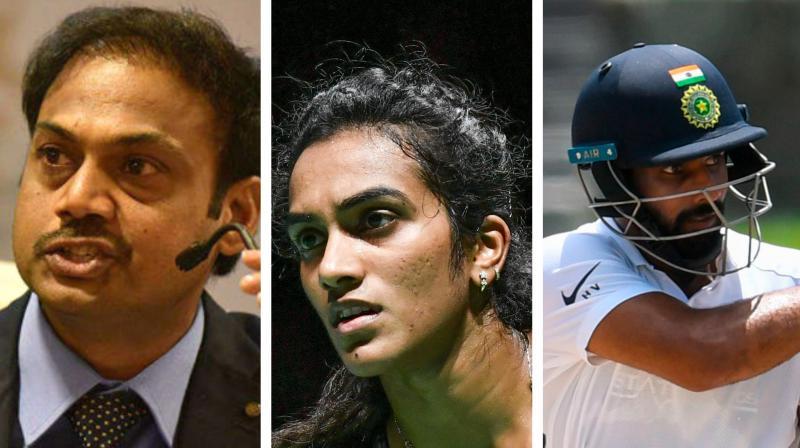 India middle-order batsman Hanuma Vihari and National chairman of selectors MSK Prasad congratuled the Indian ace shuttler for her historic feat. (Photo: AFP)