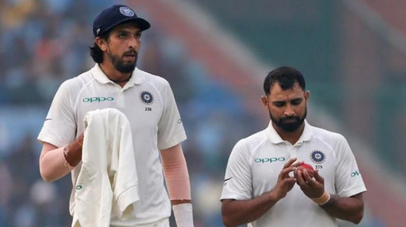 Pacer Mohammad Shami who is celebrating his 29th birthday yesterday, shared a picture on Twitter with Ishant Sharma and Rajeev Kumar, sports massage therapist for the Indian team. (Photo: AP)