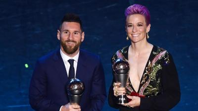 Lionel Messi won the Best FIFA Men's Player and Meghan Rapinoe won the Best FIFA Women's Player award. (Photo: AFP)