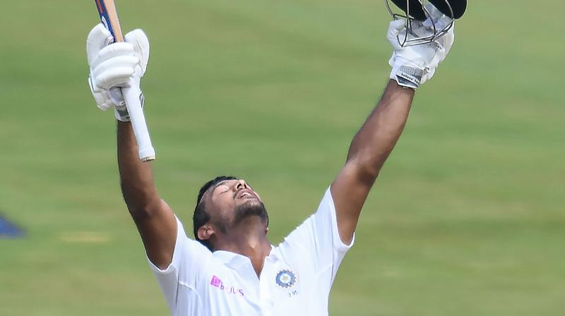 Opener Mayank Agarwal, playing only his fifth Test, scored 215 as India reached 450 for five in their first innings at tea. (Photo: AFP)