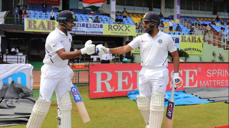 Rohit Sharma, who made his debut as a Test opener here, was dismissed after scoring 176, while Mayank Agarwal scored his maiden Test hundred. (Twitter/BCCI)
